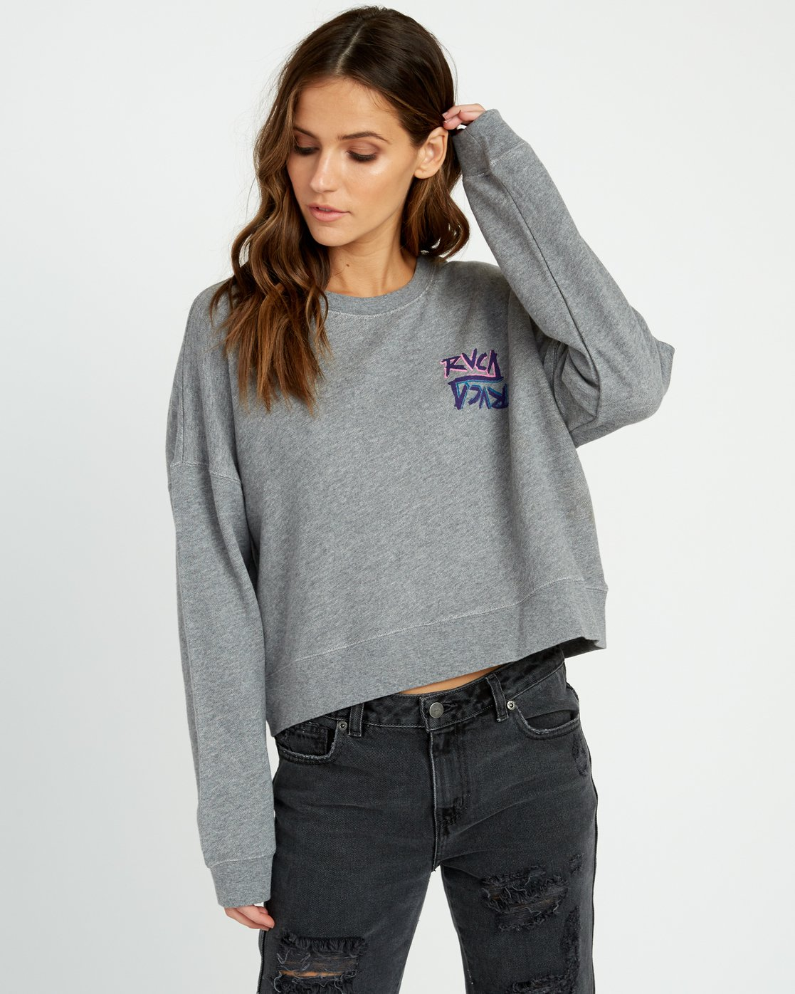 0 Offset Fleece Pullover Sweatshirt Grey W627UROF RVCA