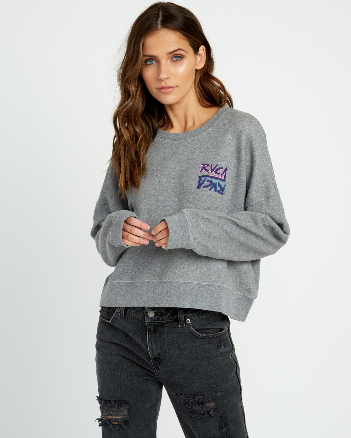 1 Offset Fleece Pullover Sweatshirt Grey W627UROF RVCA