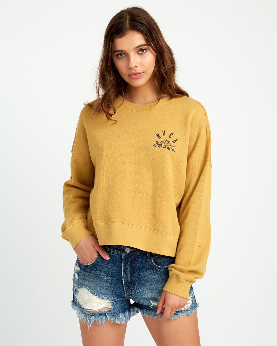 1 Rose State Fleece Pullover Sweatshirt Yellow W627URRO RVCA