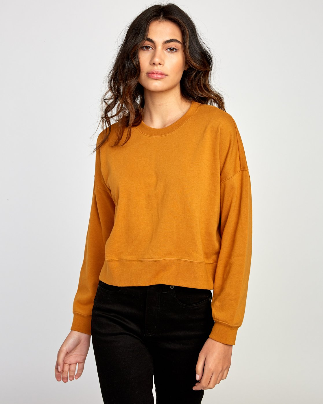 1 Big Copy Pullover Sweatshirt Orange W627VRBI RVCA