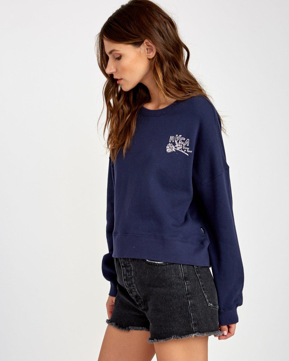 2 Thorns Pullover Sweatshirt Blue W627VRTH RVCA