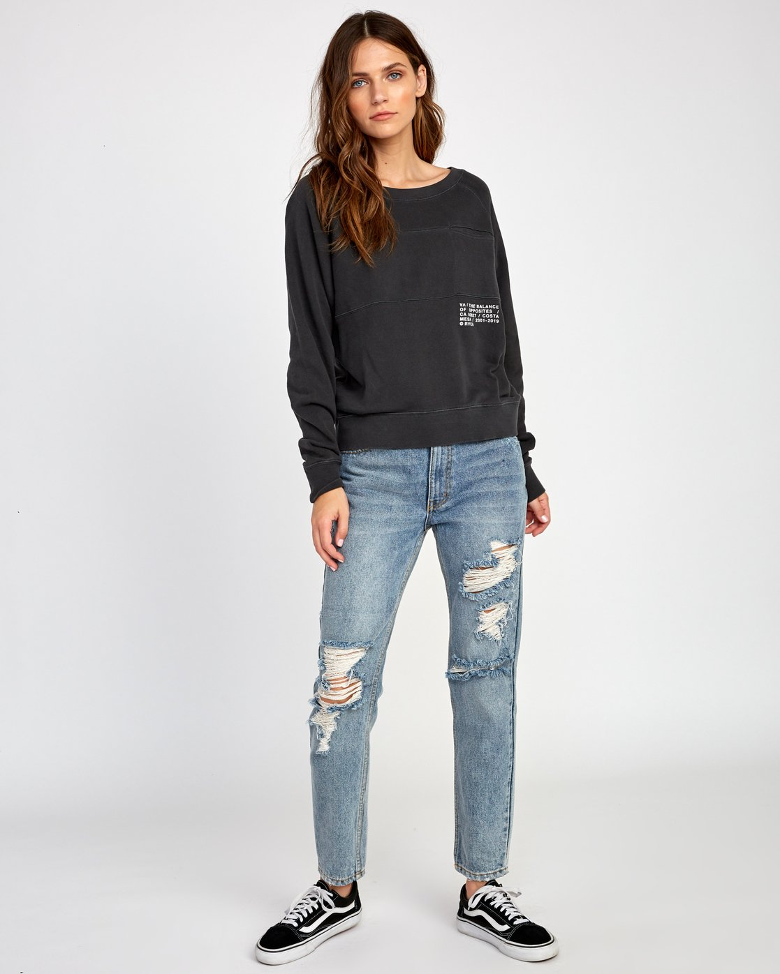 5 Spec Raglan Sweatshirt Black W631VRSP RVCA