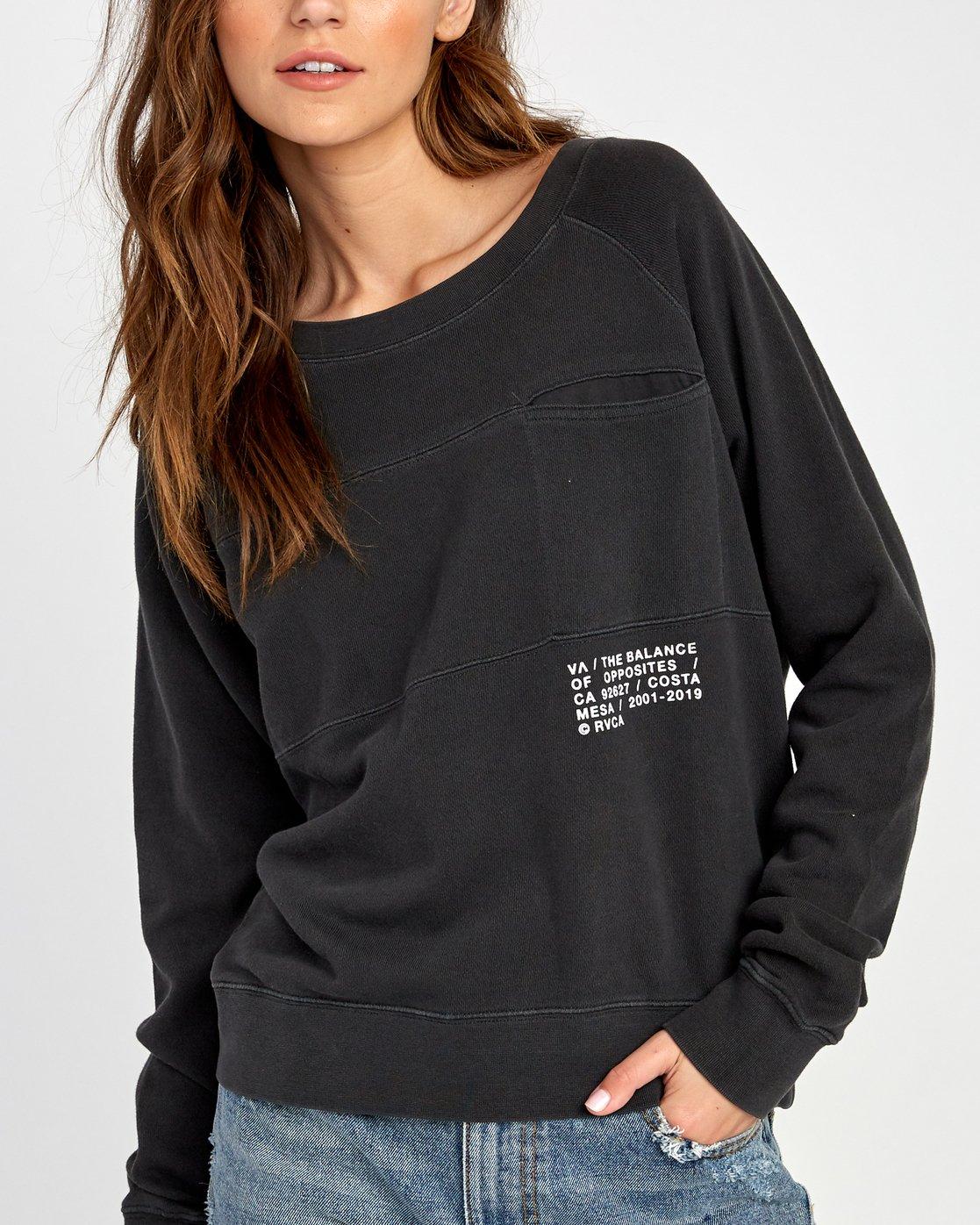 4 Spec Raglan Sweatshirt Black W631VRSP RVCA