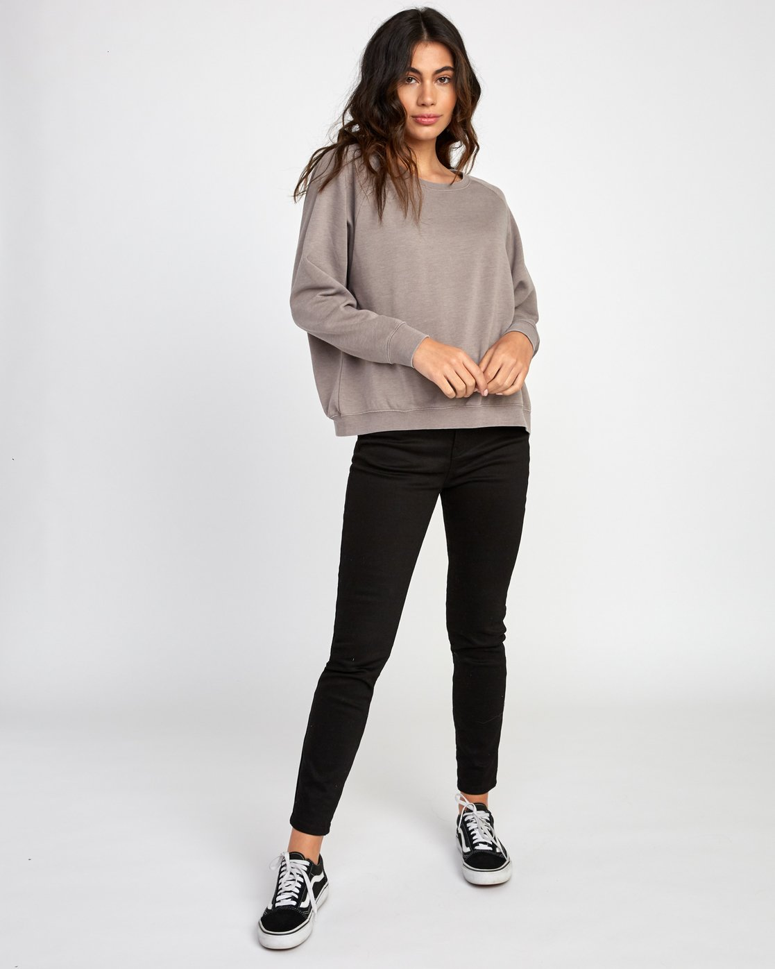 5 Everyday Label Sweatshirt Grey W634VREV RVCA