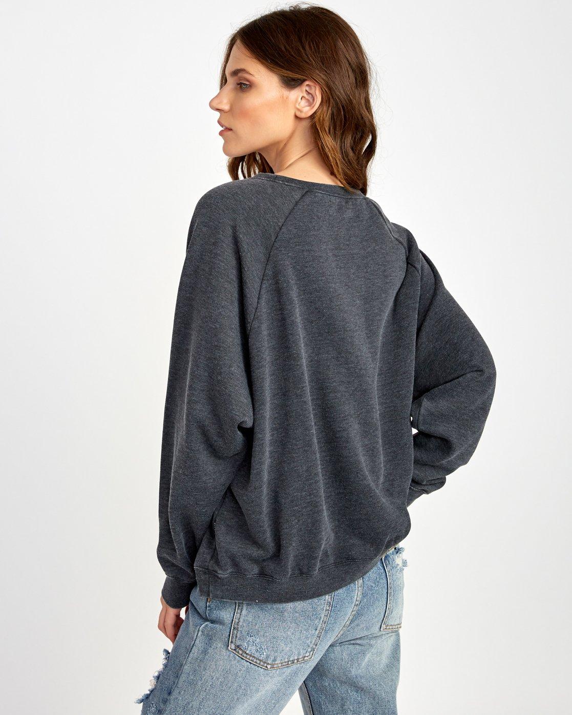 2 Everyday Label Sweatshirt Black W634VREV RVCA