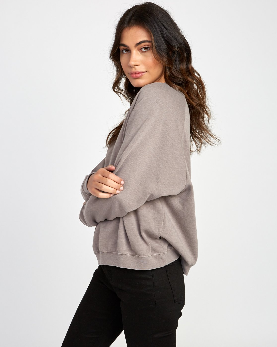 2 Everyday Label Sweatshirt Grey W634VREV RVCA