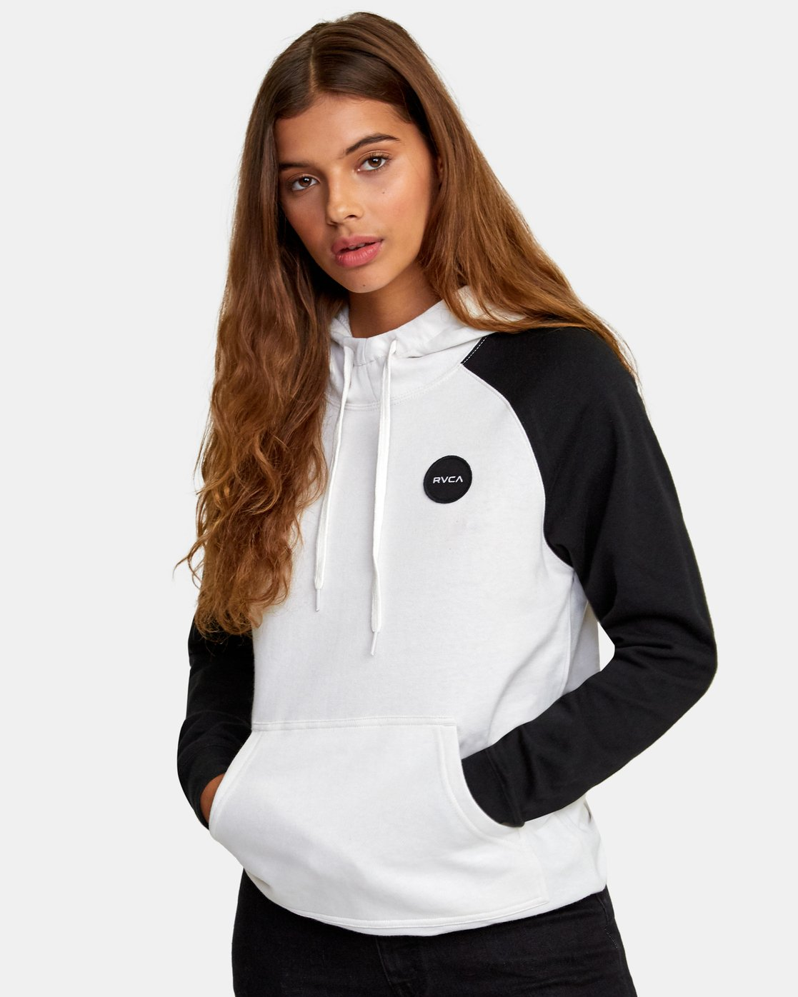 0 Motors Patch Colorblocked Hoodie White W636WRMO RVCA
