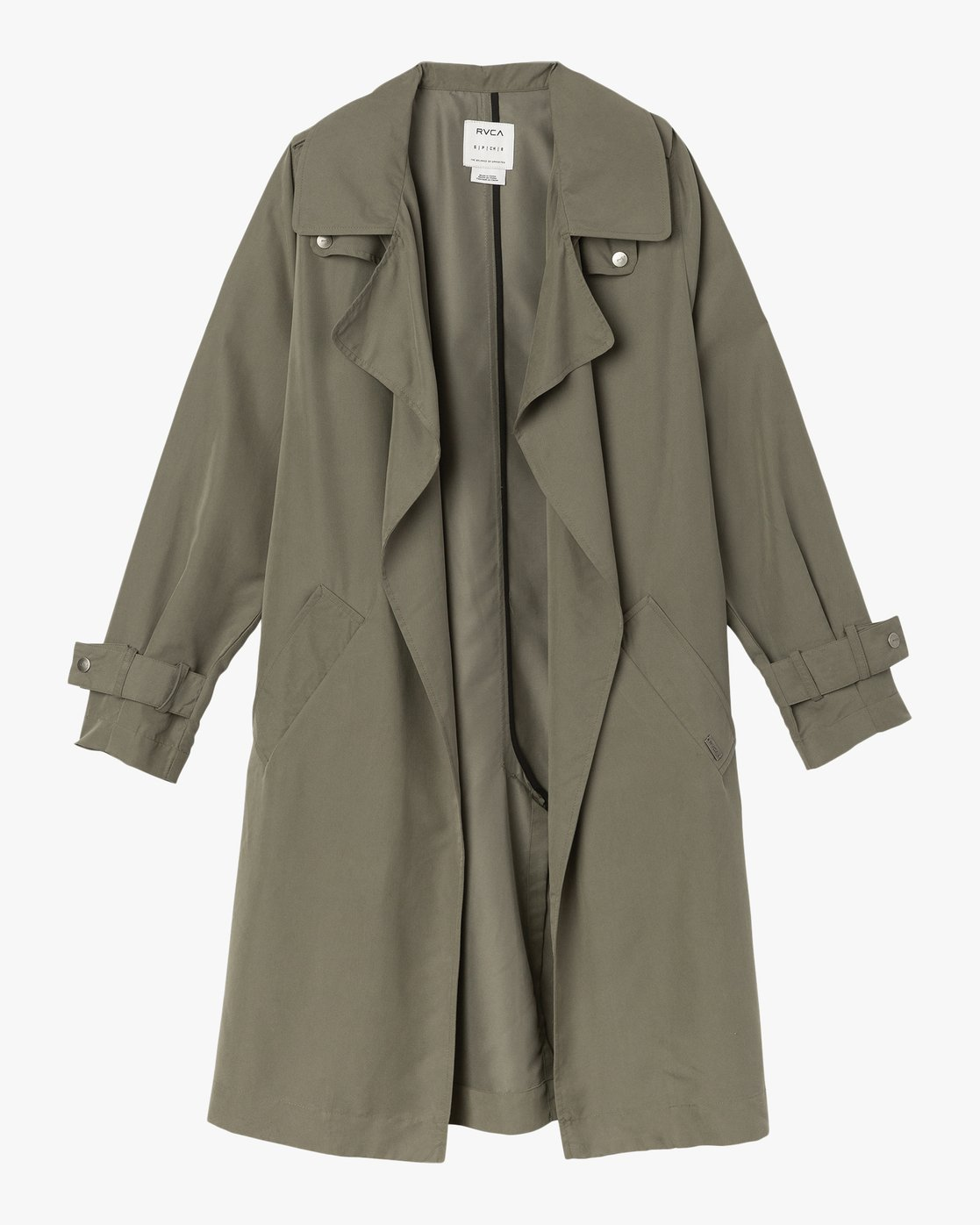 5 Mac Draped Trench Coat Green W701SRMA RVCA