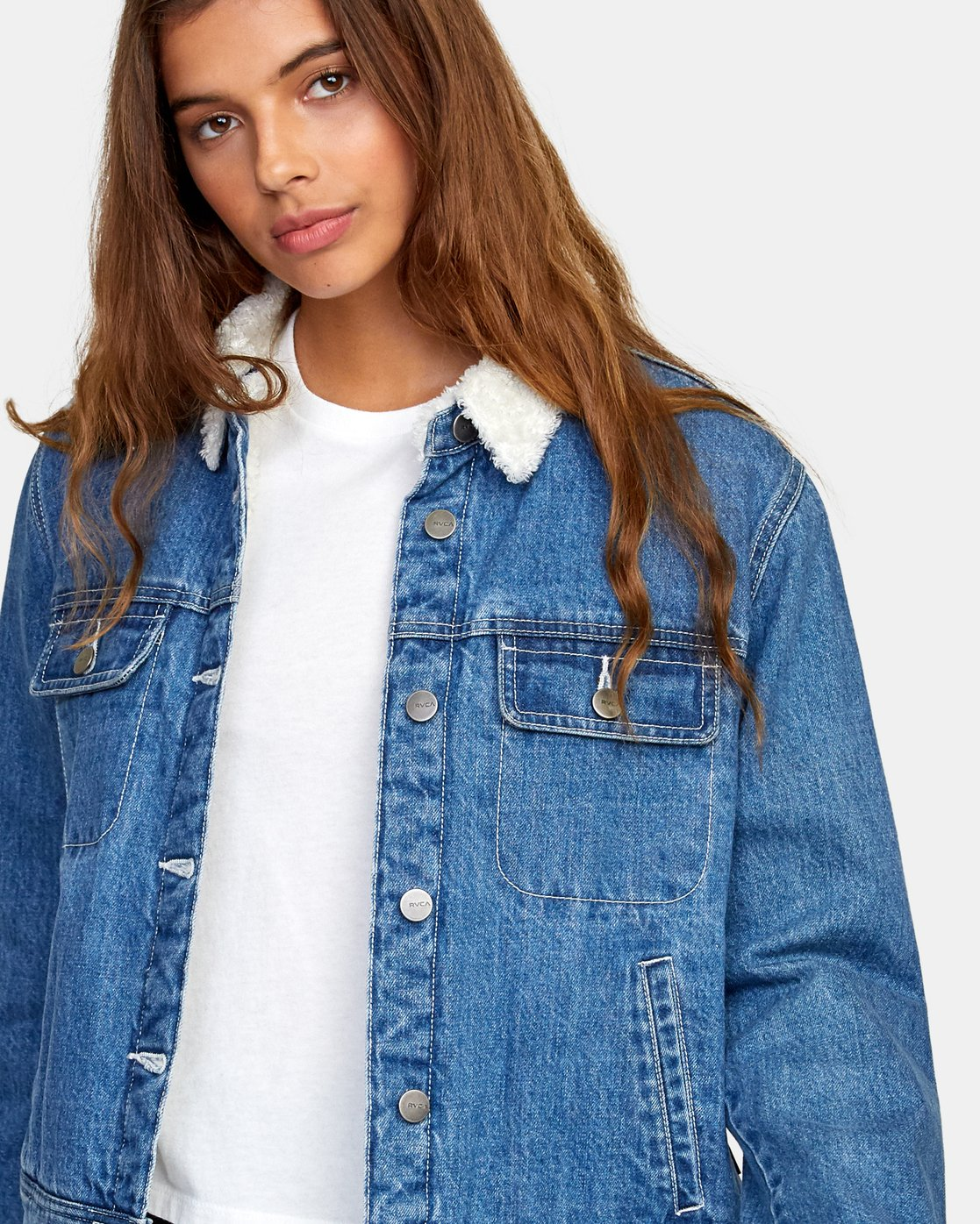 3 Spitting Image Denim Jacket Blue W702WRSI RVCA