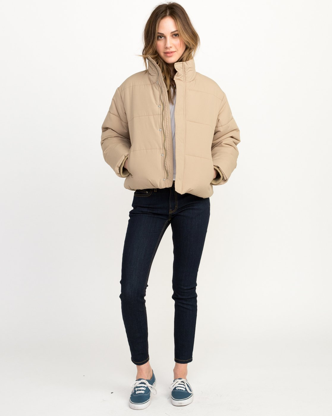 4 Eezeh Puffer Cropped Jacket White W703QREE RVCA