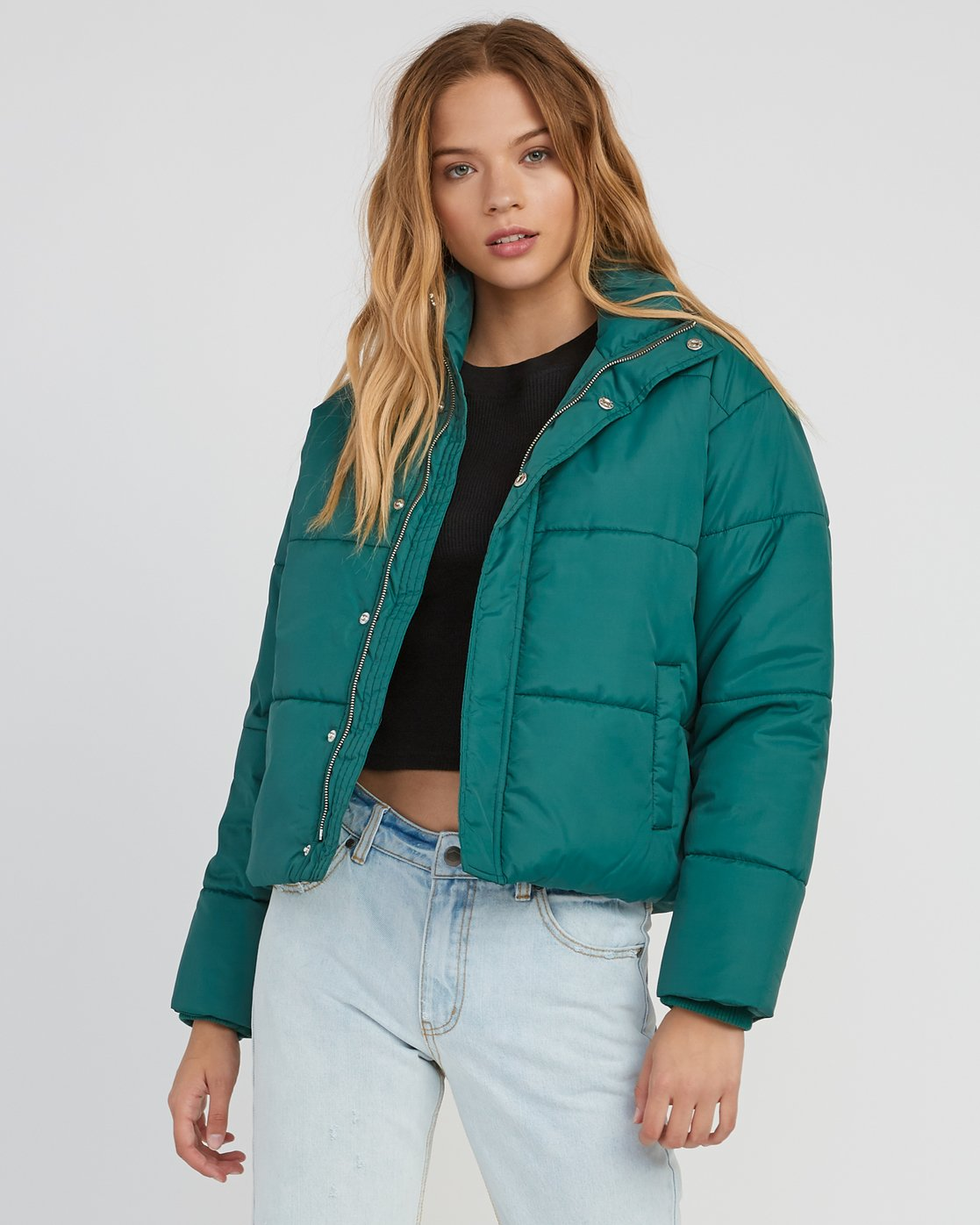 0 Eezeh Puffer Cropped Jacket Green W703QREE RVCA