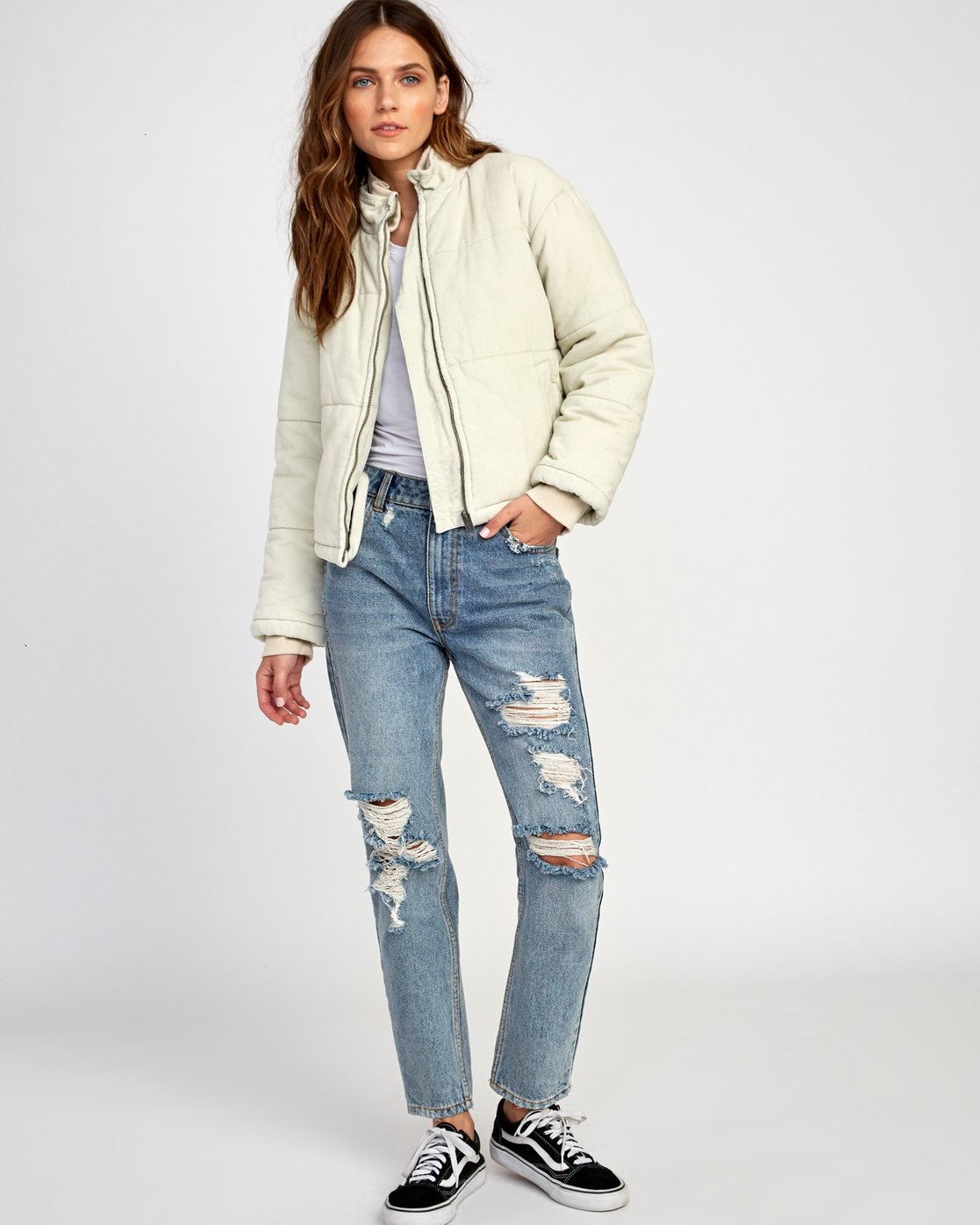 7 Eezeh Corduroy Puffer Cropped Jacket  W703VREE RVCA