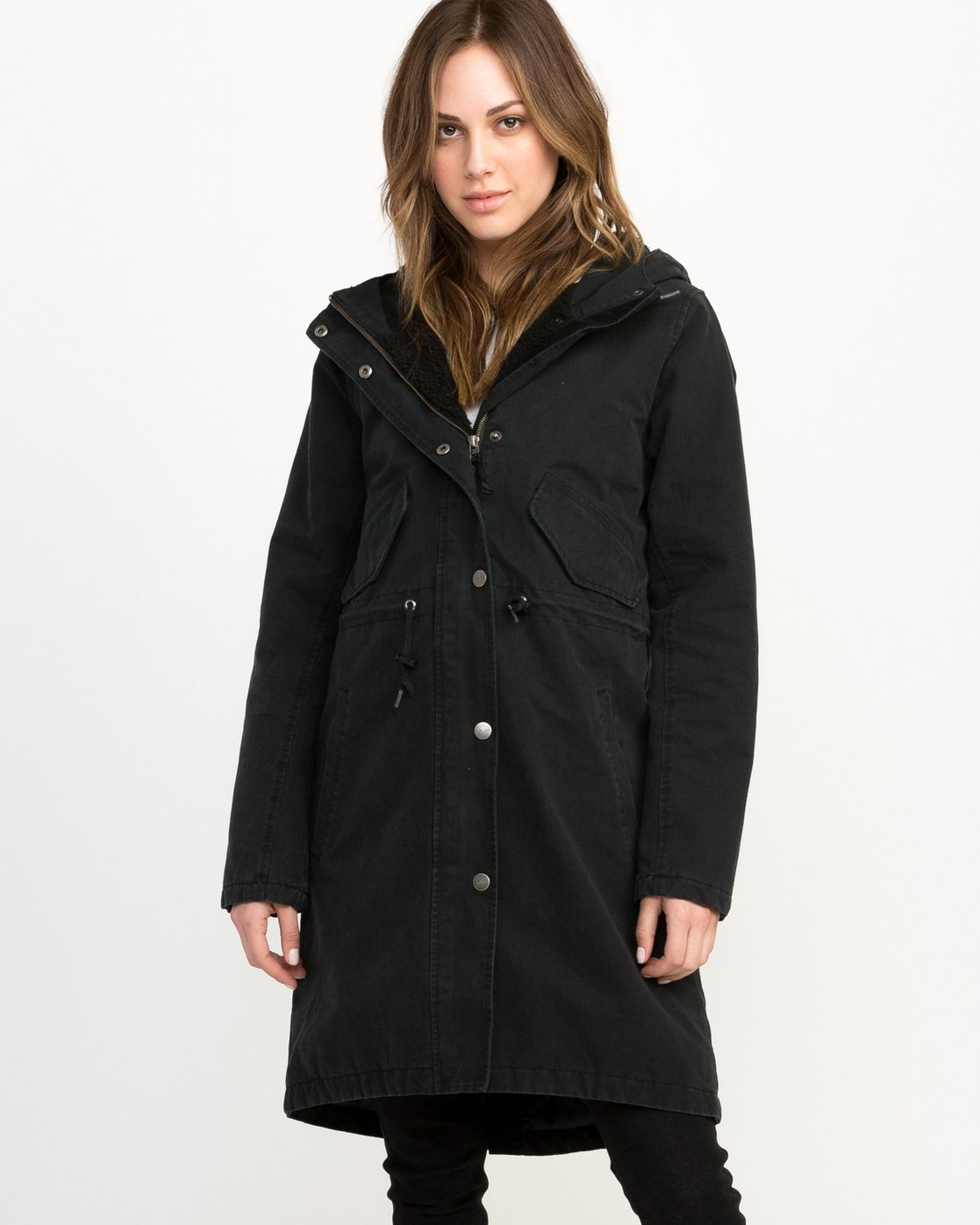 1 Highlands Longline Parka Jacket Black W705QRGR RVCA