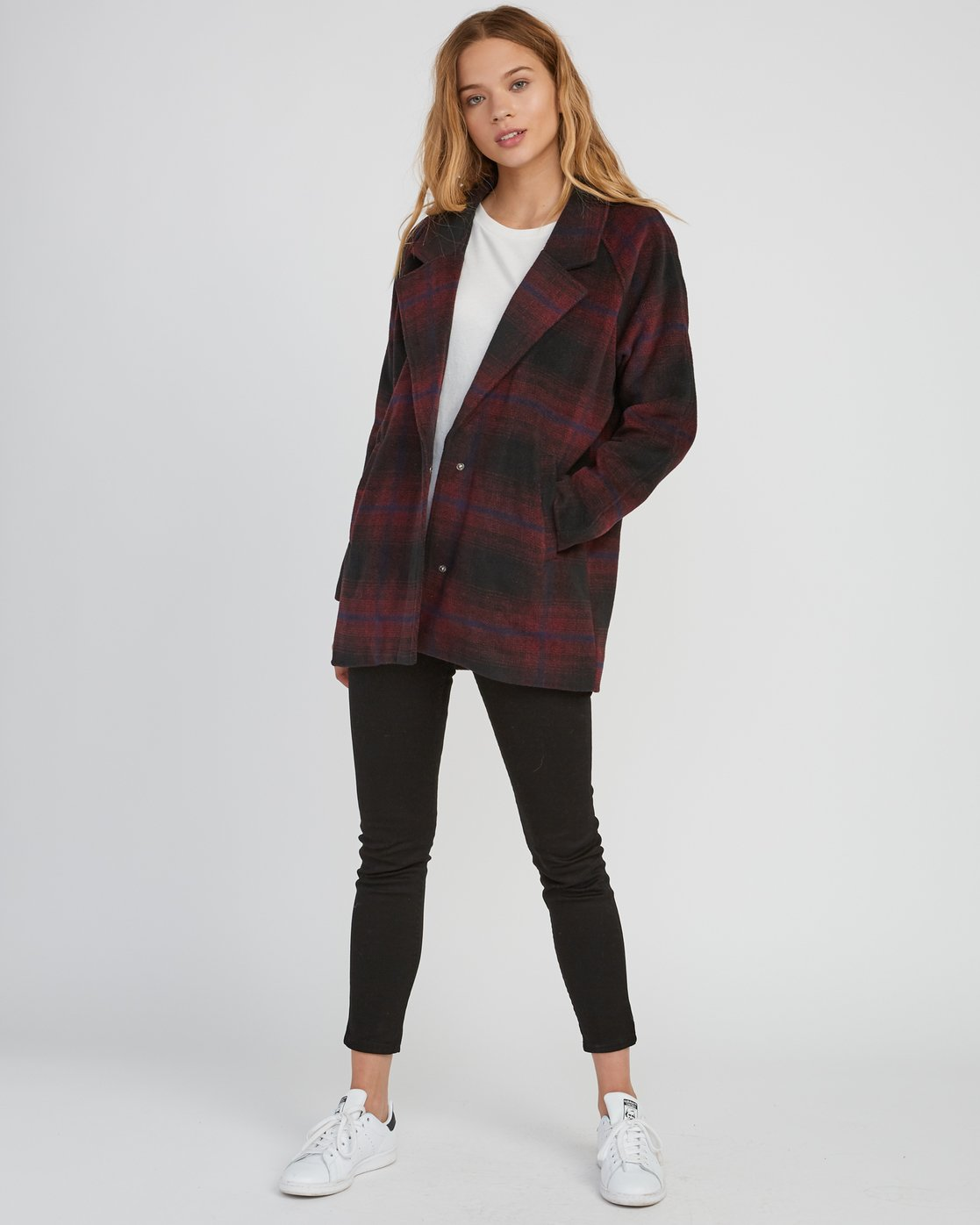 5 Camden Oversized Plaid Jacket Pink W705SRCA RVCA