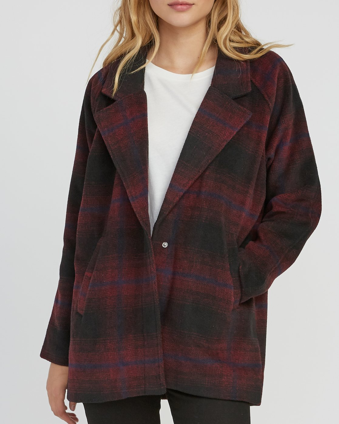 4 Camden Oversized Plaid Jacket Pink W705SRCA RVCA