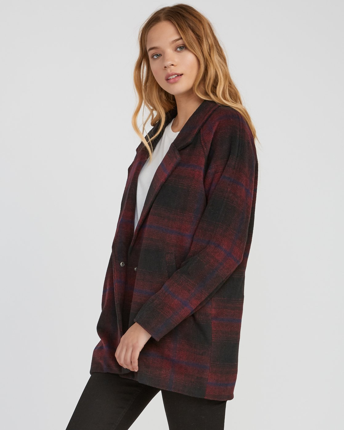 2 Camden Oversized Plaid Jacket Pink W705SRCA RVCA