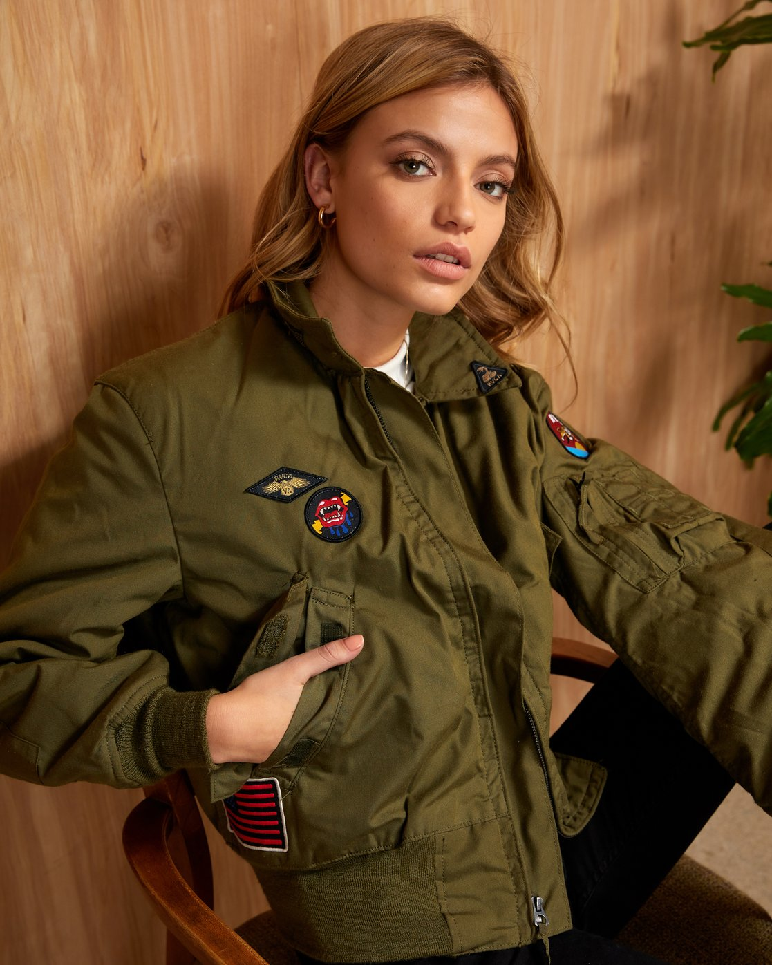 0 HOLD FAST PETITE MILITARY BOMBER Green W705WRHF RVCA