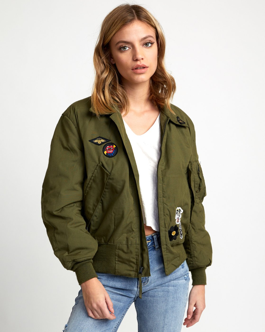 1 HOLD FAST PETITE MILITARY BOMBER Green W705WRHF RVCA