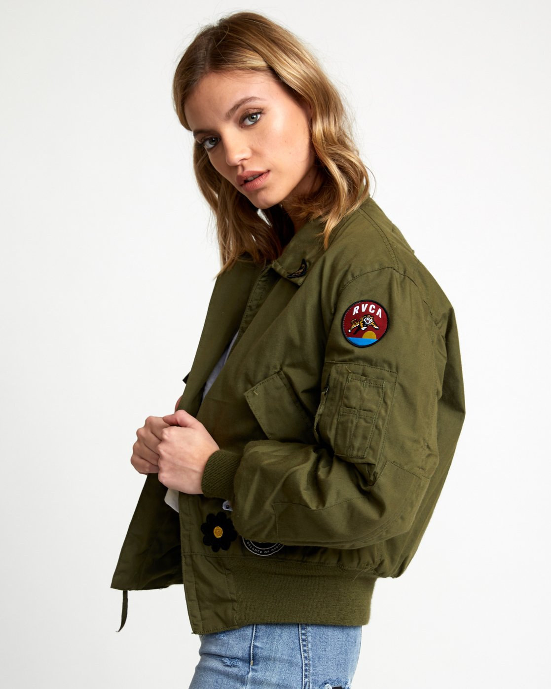 2 HOLD FAST PETITE MILITARY BOMBER Green W705WRHF RVCA