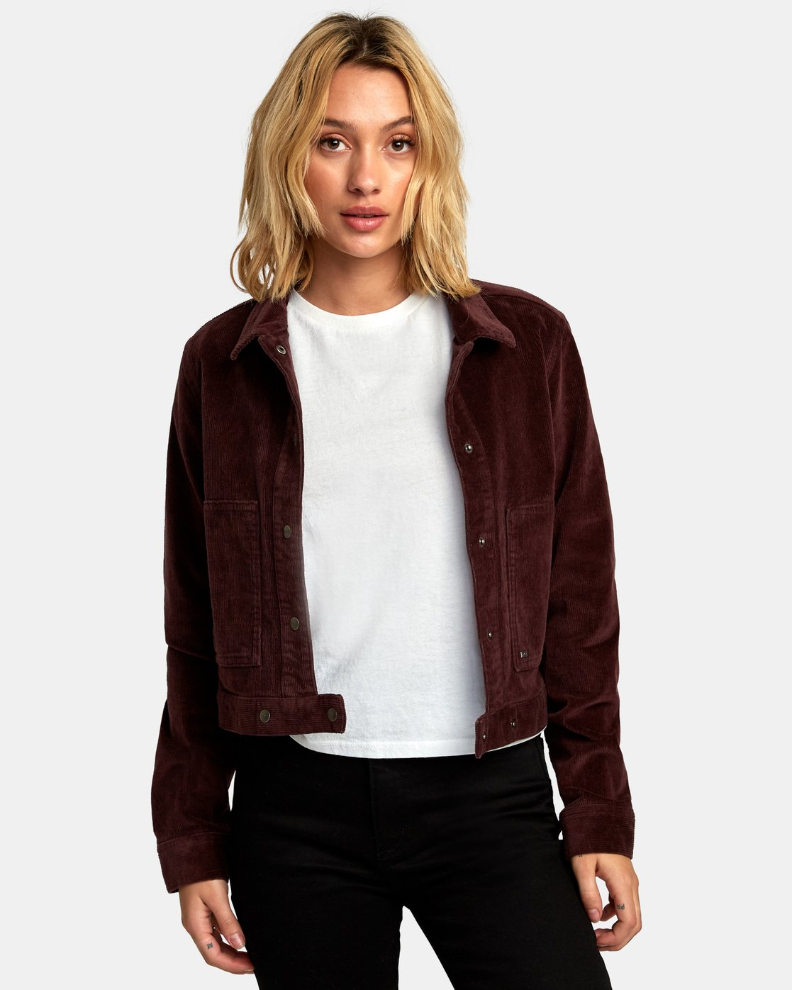 3 Out Out Corduroy Cropped Jacket Brown W705WROO RVCA