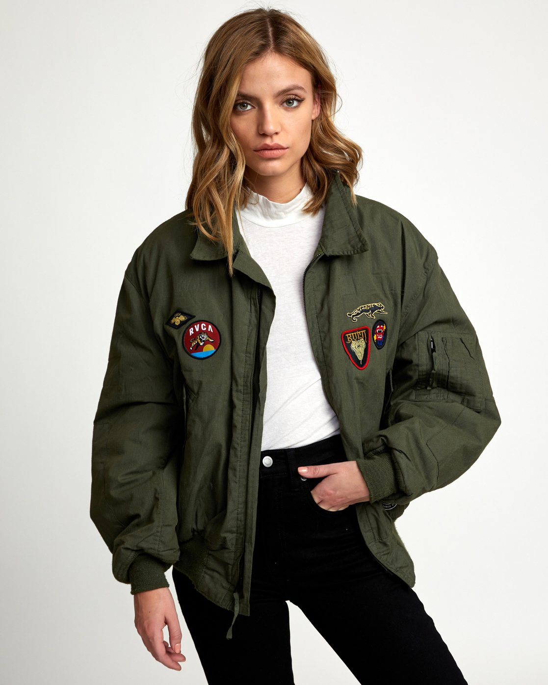 1 REBEL SOUL OVER SIZED MILITARY BOMBER Green W706WRRS RVCA