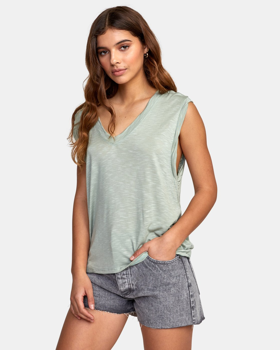 1 MYERS TANK TOP Green W903VRMY RVCA