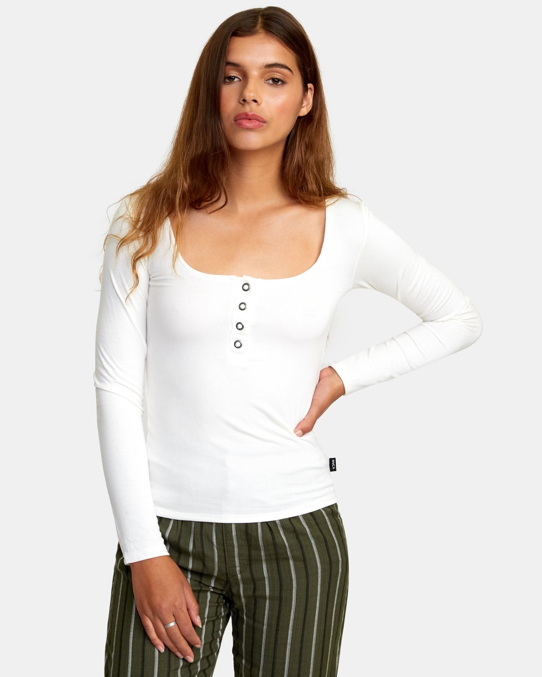 0 Guarded Ribbed Long Sleeve Top White W903WRGU RVCA