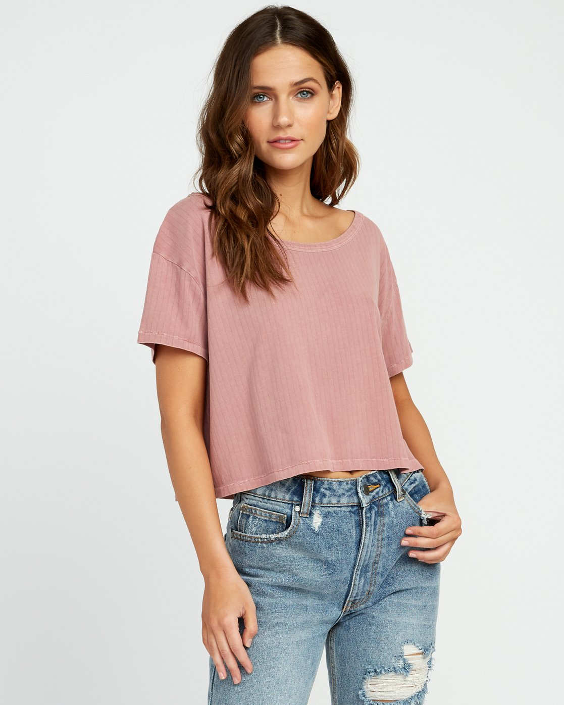 0 Headline Cropped Knit Top Brown W904URHE RVCA