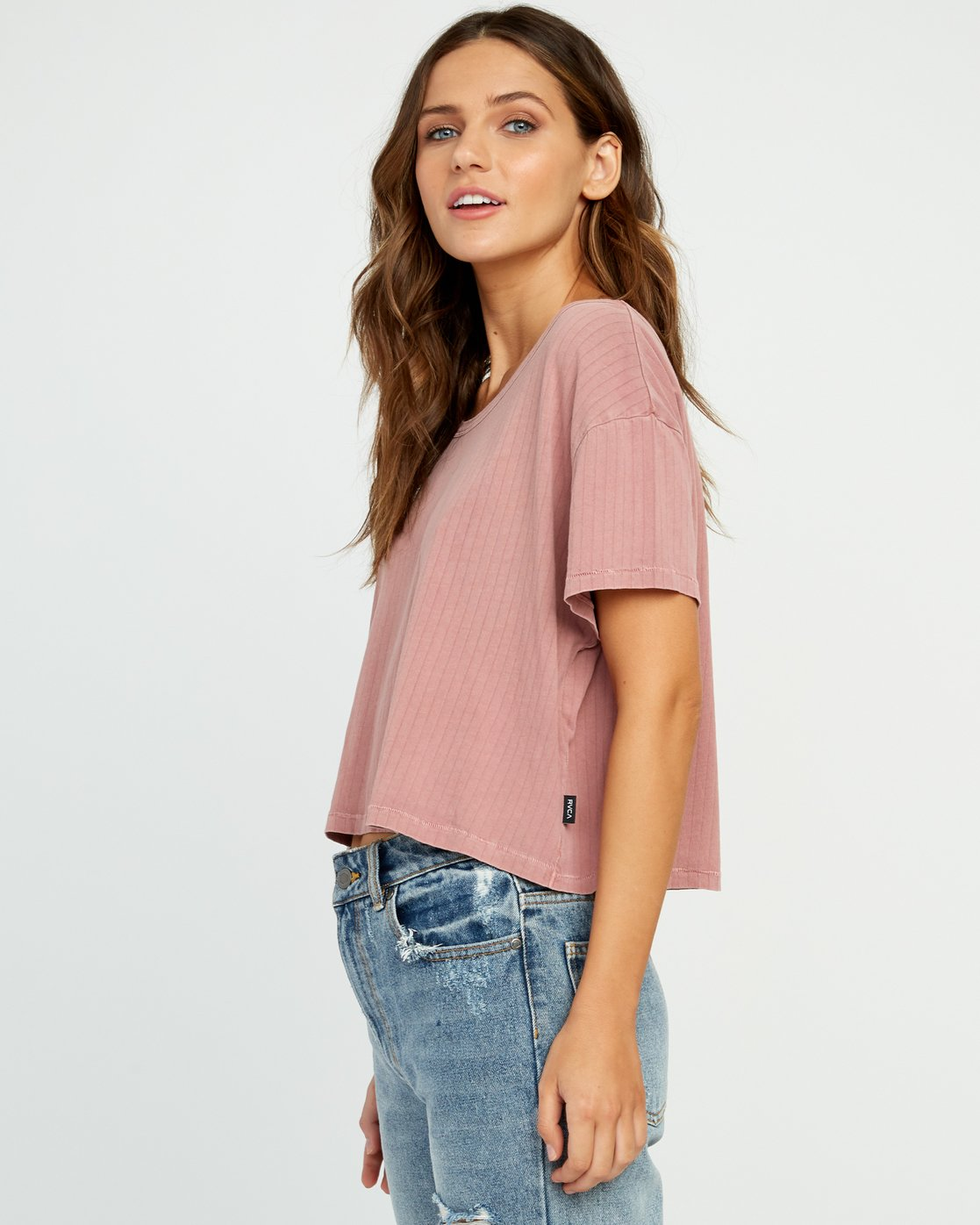 1 Headline Cropped Knit Top Brown W904URHE RVCA