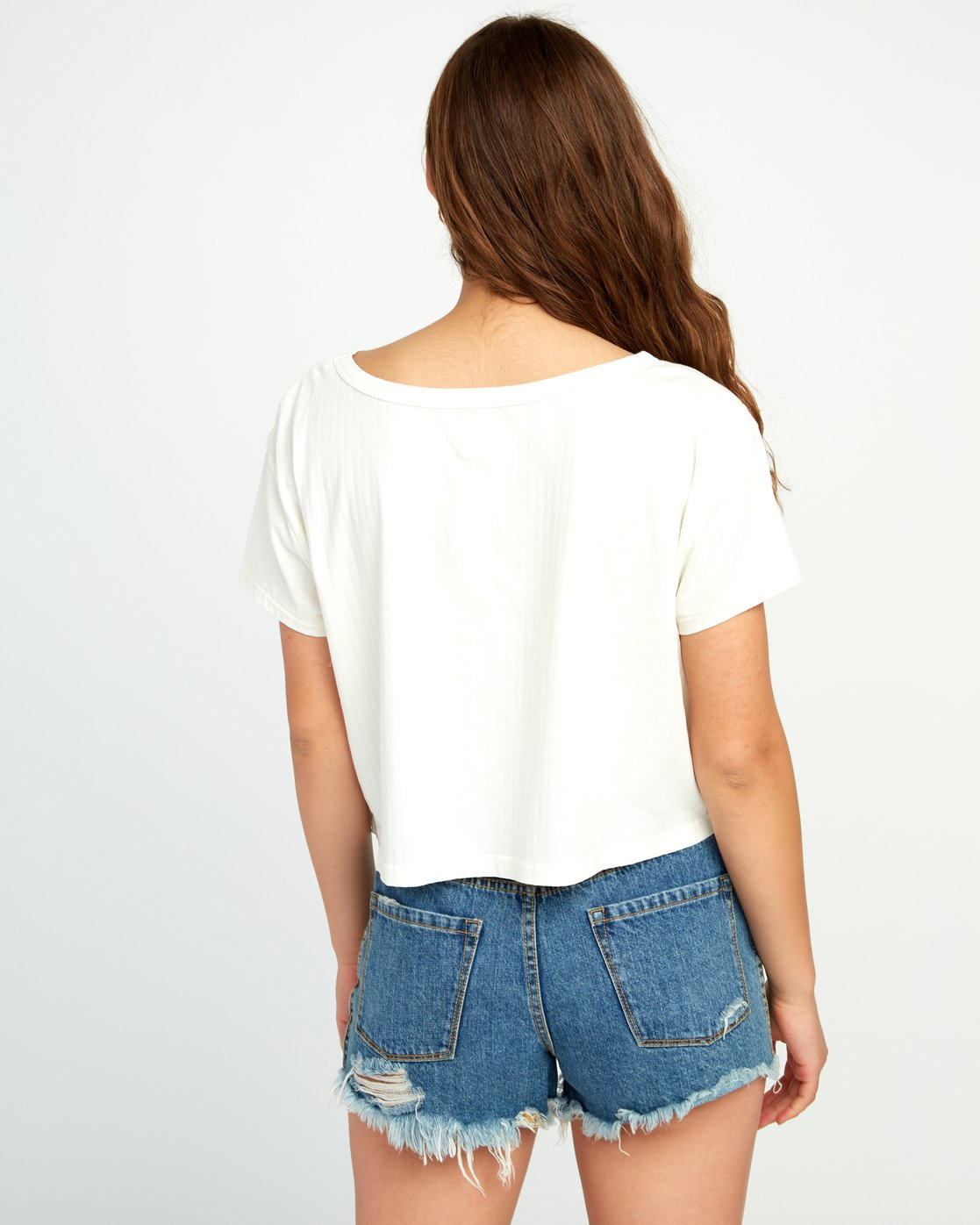 3 Headline Cropped Knit Top White W904URHE RVCA