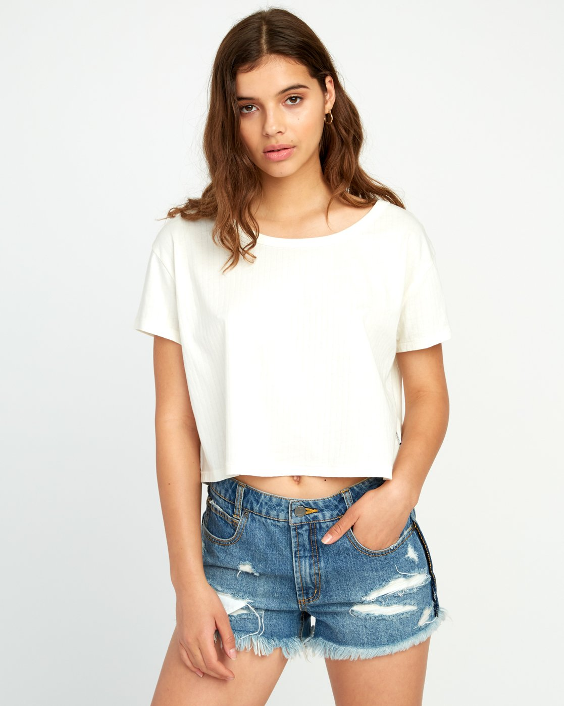 0 Headline Cropped Knit Top White W904URHE RVCA