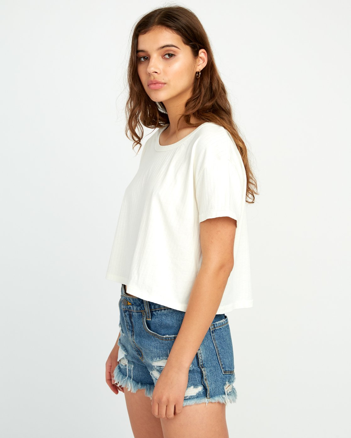 1 Headline Cropped Knit Top White W904URHE RVCA