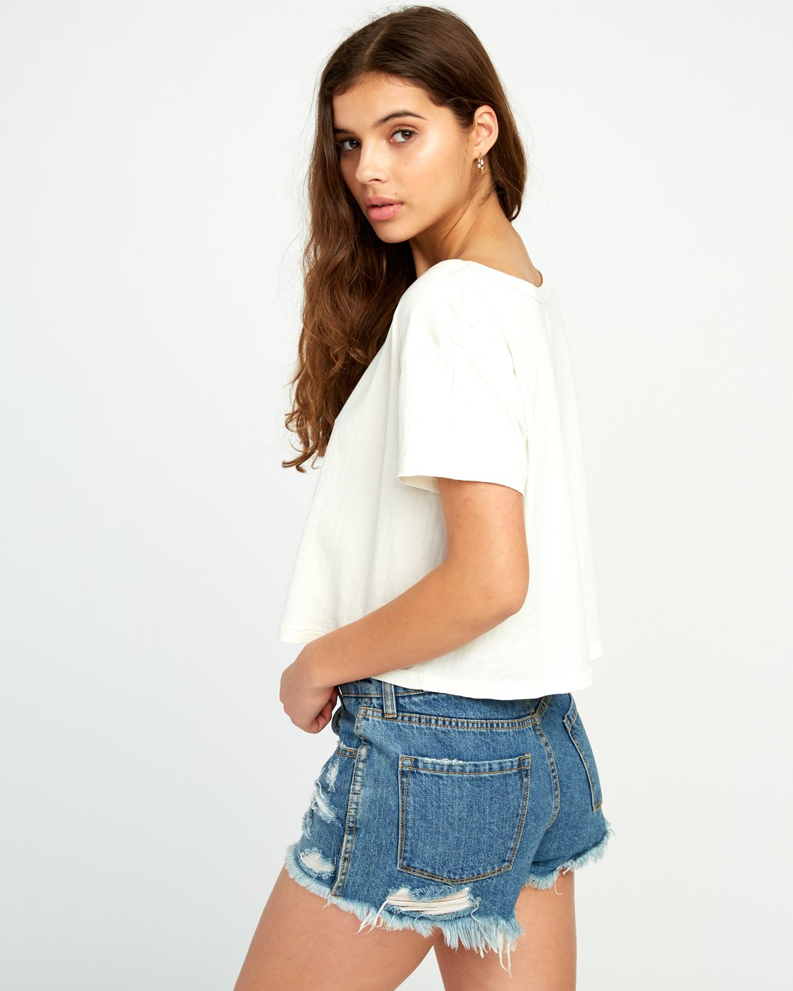 2 Headline Cropped Knit Top White W904URHE RVCA