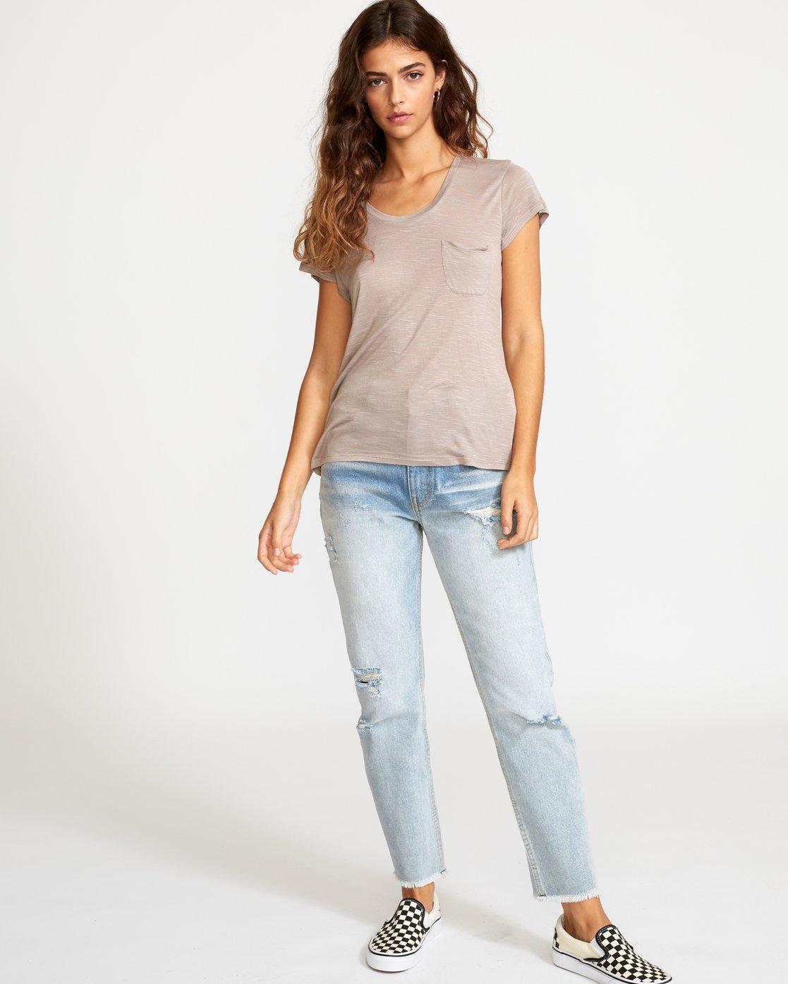 4 Vinyl Jersey Knit T-Shirt Grey W904VRVI RVCA