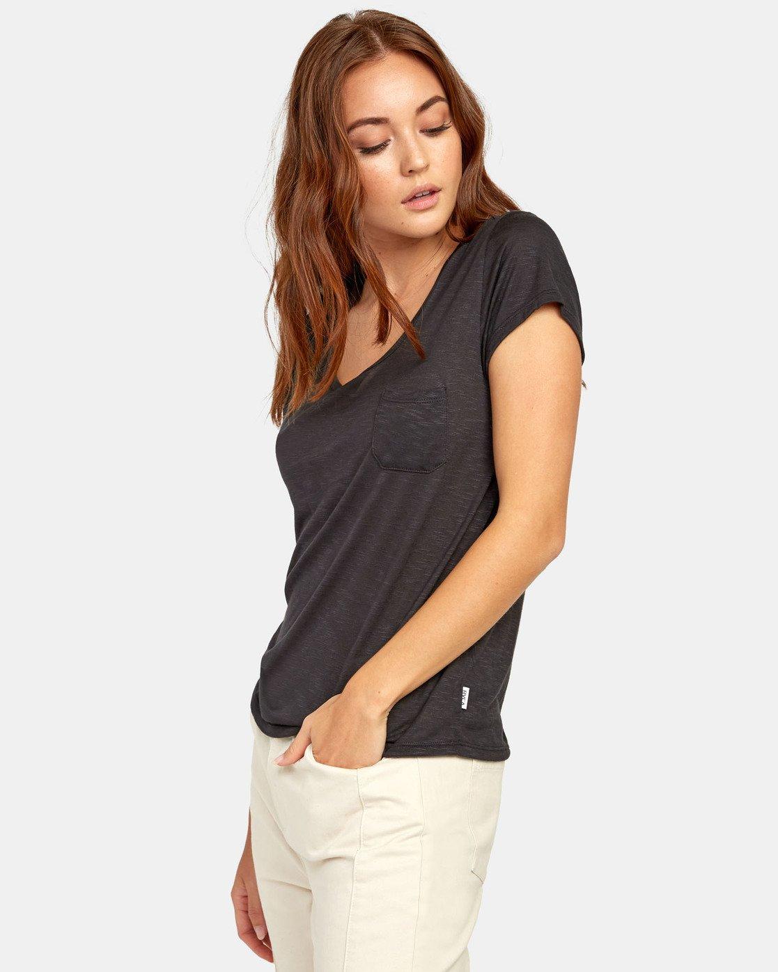 1 Vinyl Jersey Knit T-Shirt Black W904VRVI RVCA