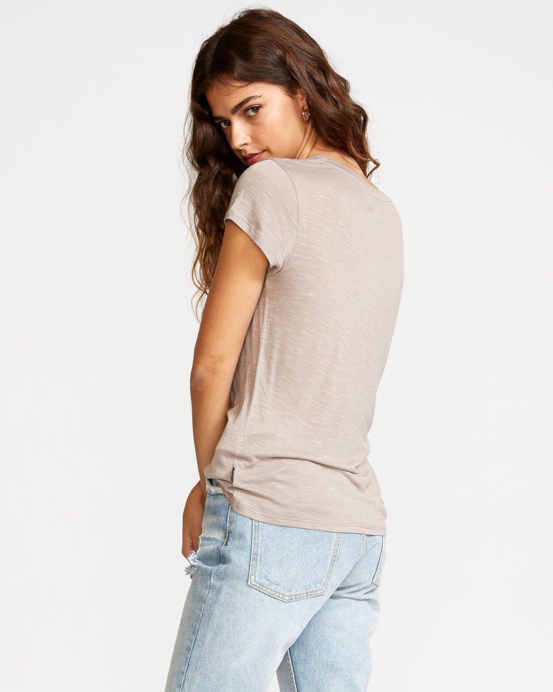 3 Vinyl Jersey Knit T-Shirt Grey W904VRVI RVCA