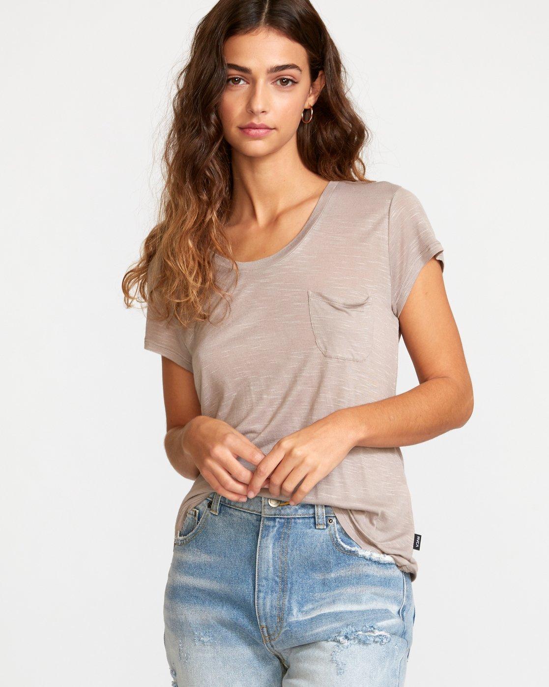 1 Vinyl Jersey Knit T-Shirt Grey W904VRVI RVCA