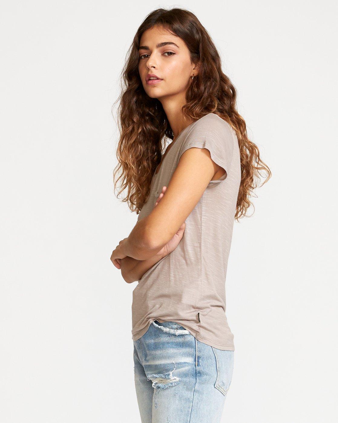 2 Vinyl Jersey Knit T-Shirt Grey W904VRVI RVCA