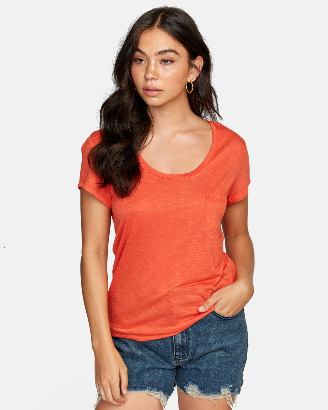 0 VINYL POCKET T-SHIRT Orange W904VRVI RVCA
