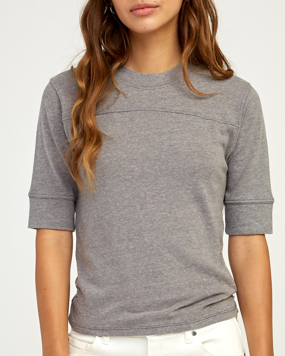 3 Stitched Knit T-Shirt Grey W905TRST RVCA