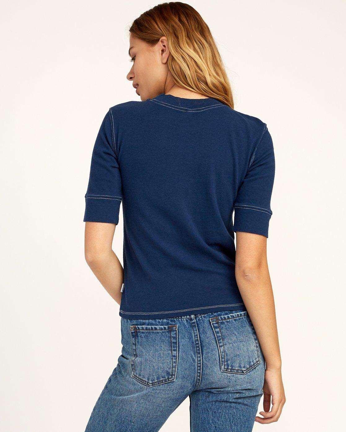 2 Stitched Knit T-Shirt Blue W905TRST RVCA