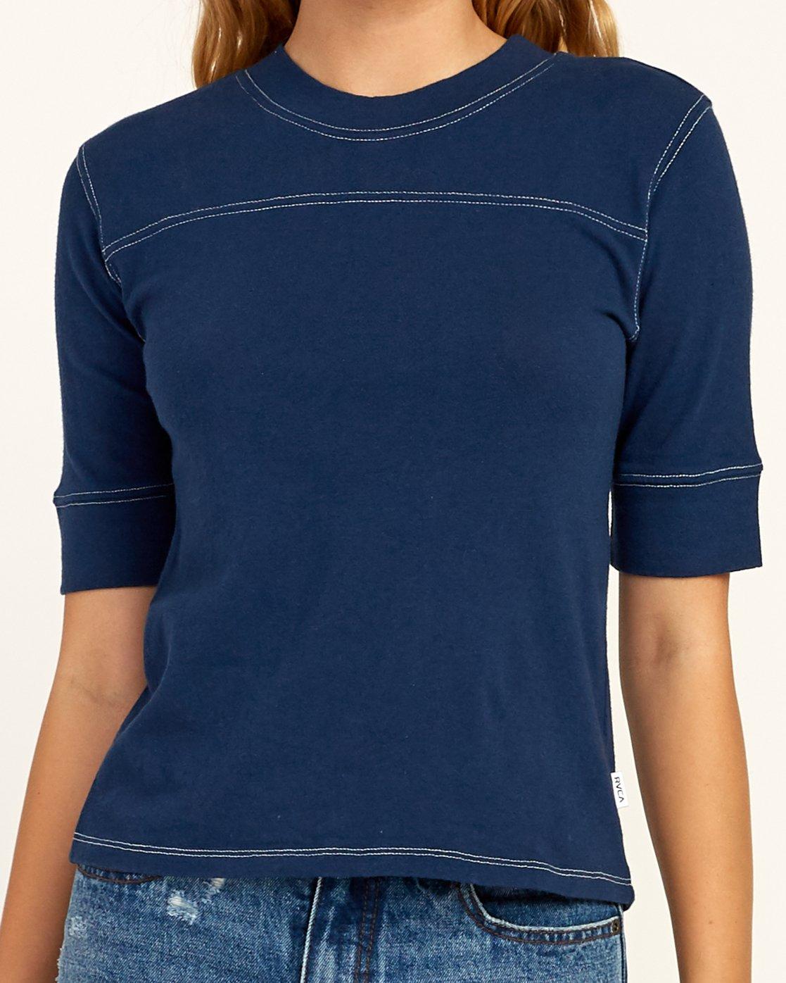 3 Stitched Knit T-Shirt Blue W905TRST RVCA
