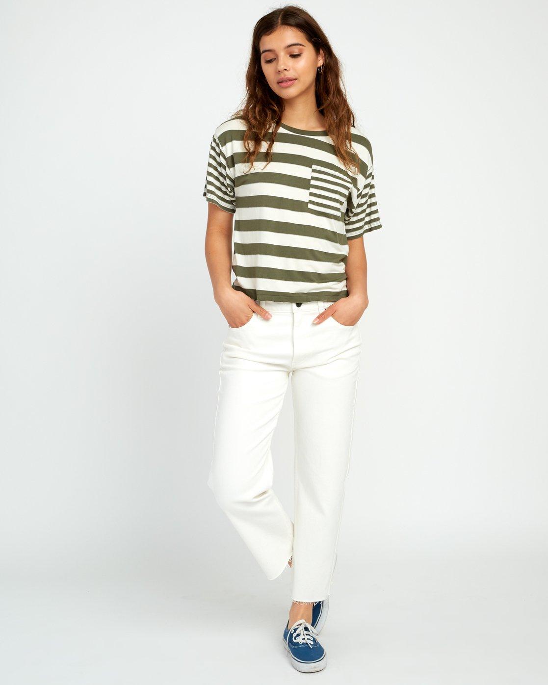 4 Raincheck Striped Knit Tee Green W905URRT RVCA