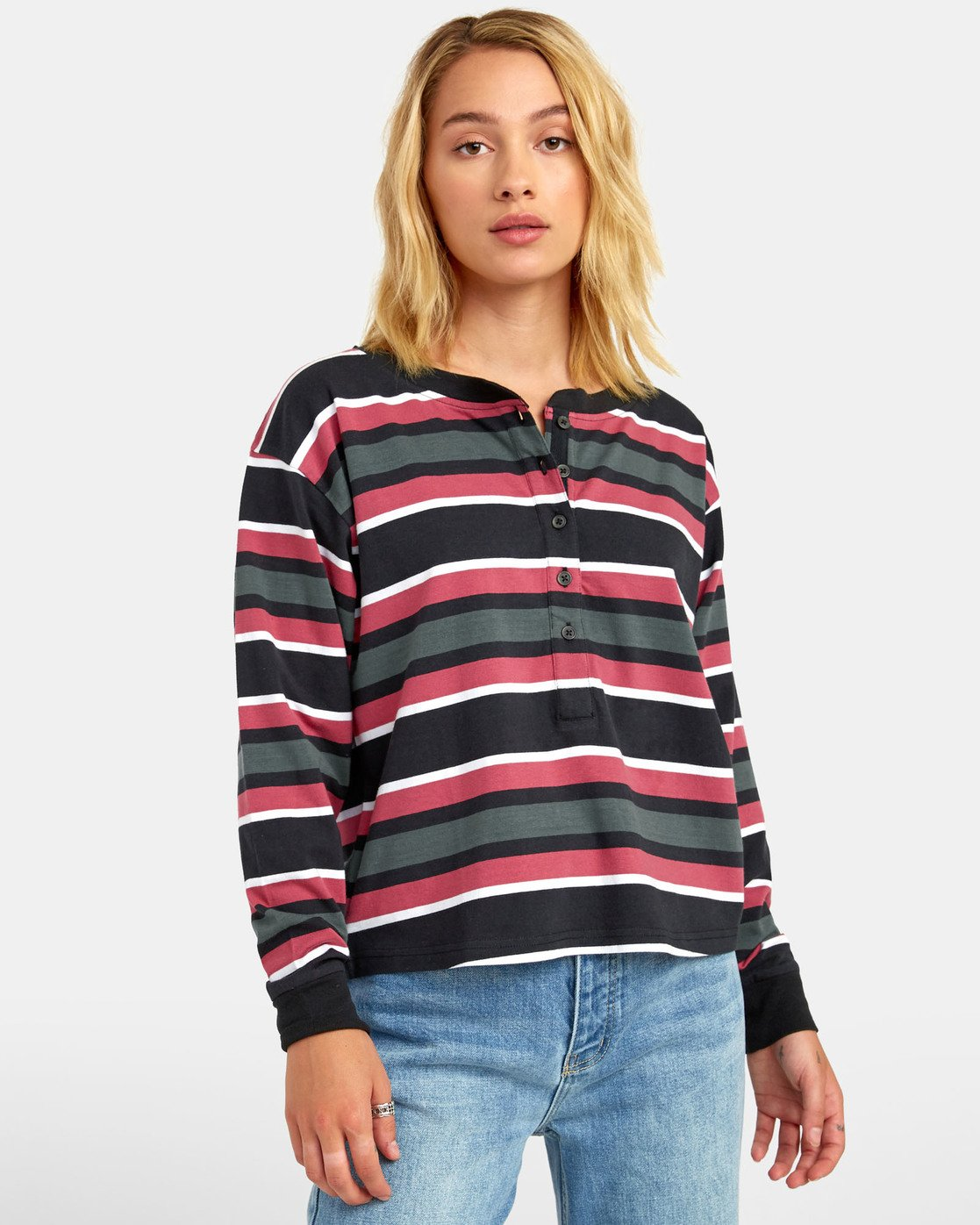 0 SIEGE STRIPED LONG SLEEVE T-SHIRT Black W9061RSI RVCA