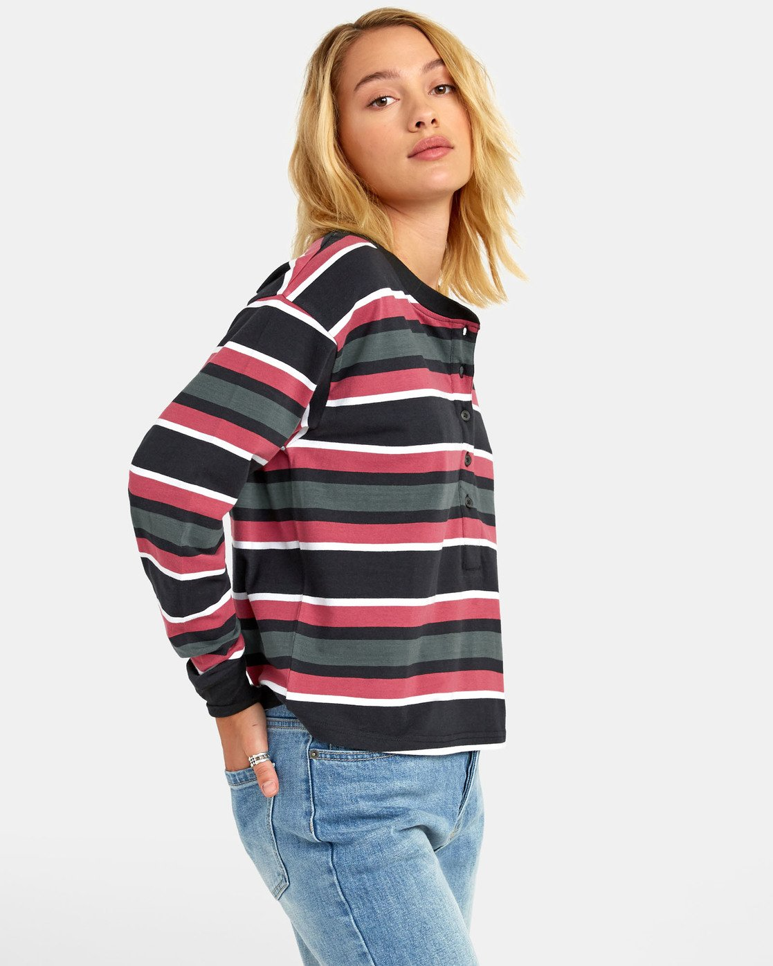 4 SIEGE STRIPED LONG SLEEVE T-SHIRT Black W9061RSI RVCA