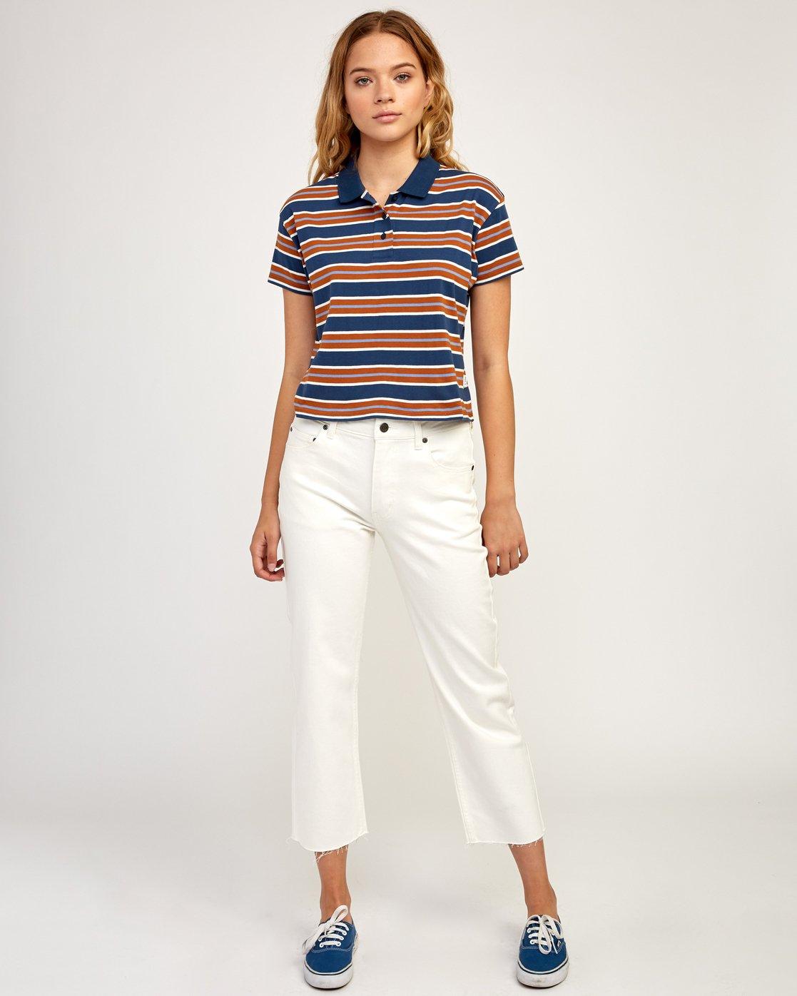 5 Polar Striped Knit Polo Shirt Blue W906TRPO RVCA