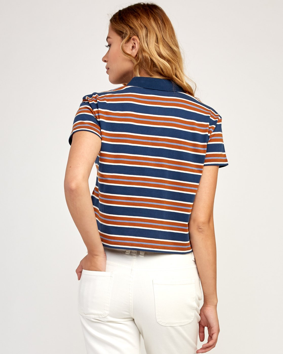 3 Polar Striped Knit Polo Shirt Blue W906TRPO RVCA