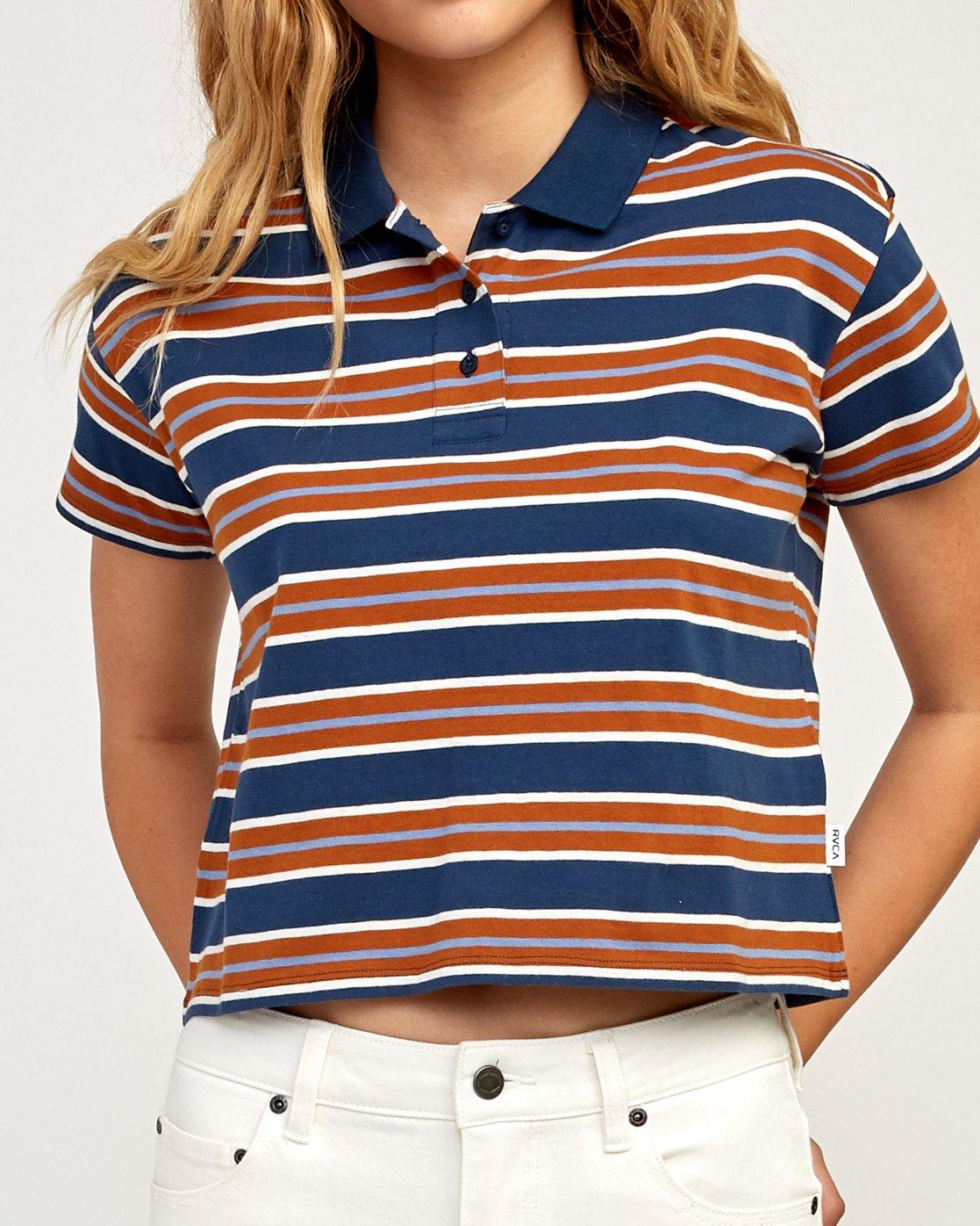 4 Polar Striped Knit Polo Shirt Blue W906TRPO RVCA