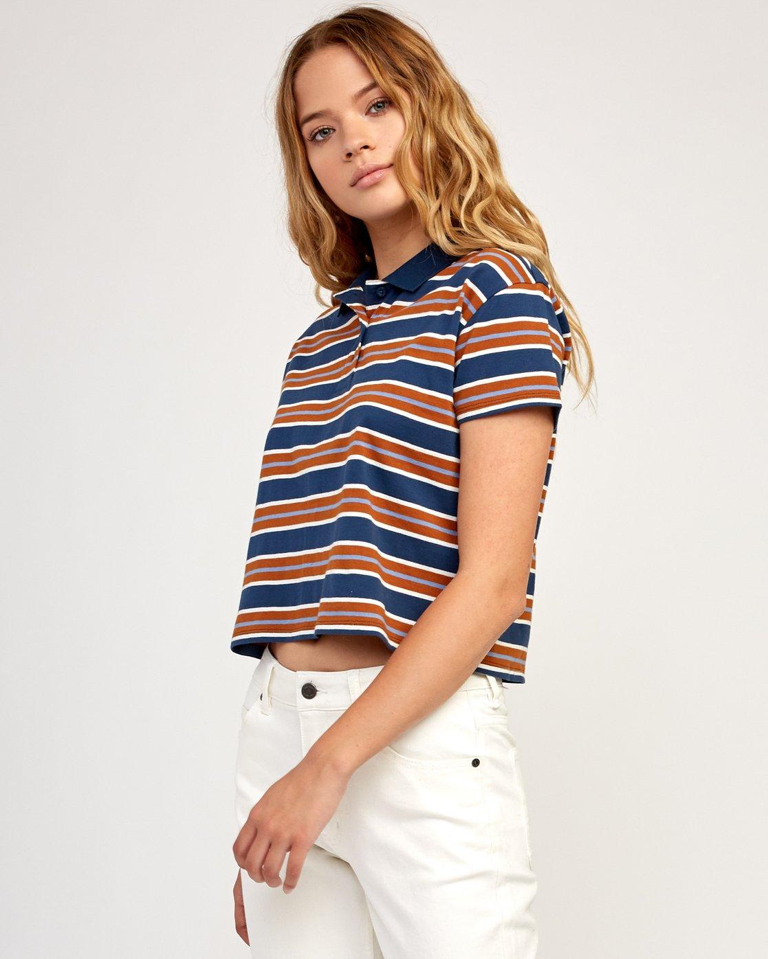 2 Polar Striped Knit Polo Shirt Blue W906TRPO RVCA