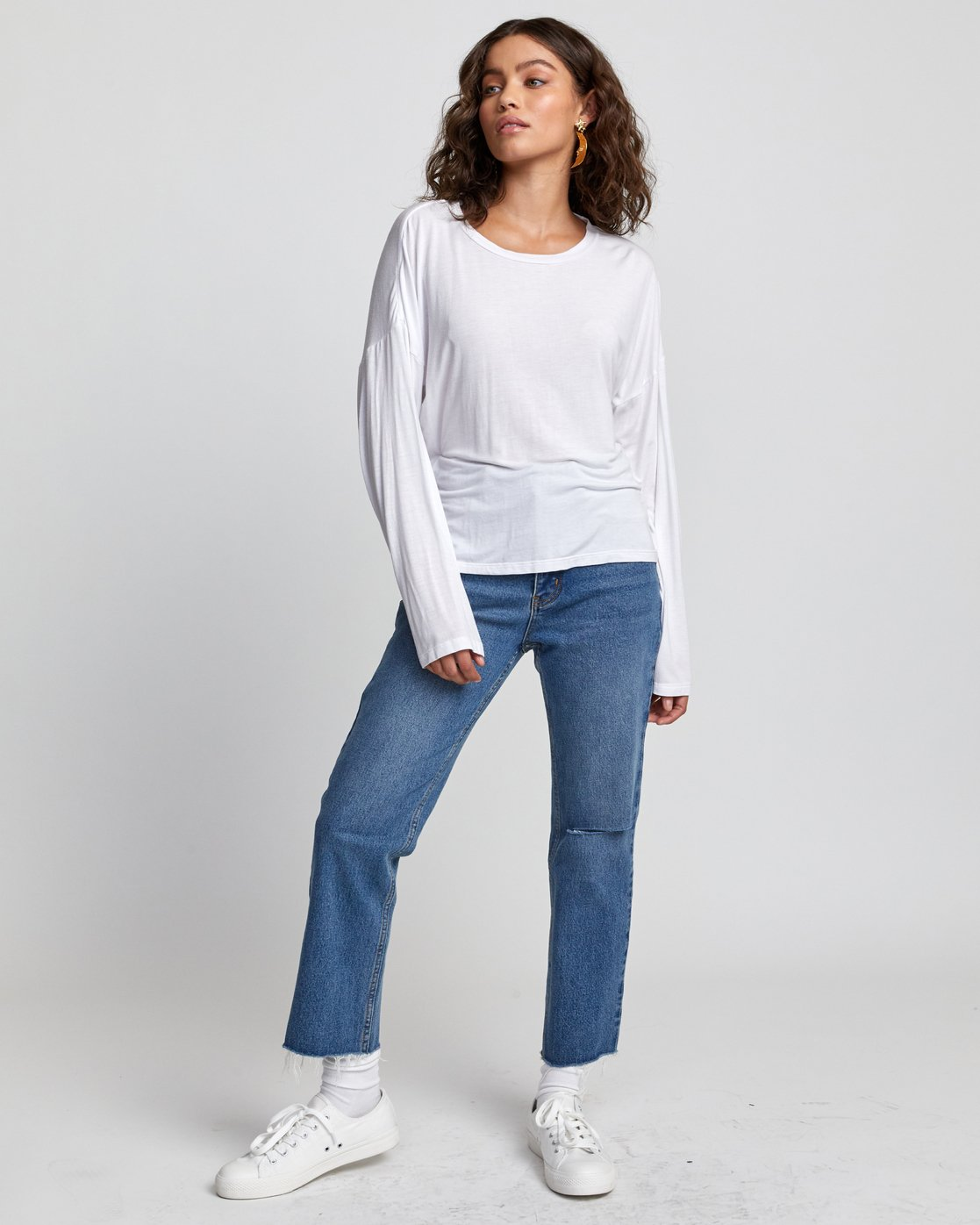 1 COUNTDOWN LONG SLEEVE TOP White W9073RCO RVCA
